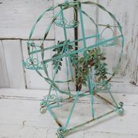 Ferris wheel aqua rusty wrought iron shabby cottage centerpiece adorned roses distressed home decor anita spero