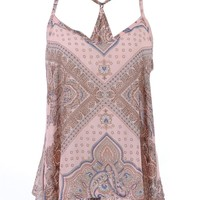 Anna-Kaci S/M Fit Multicoloured Paisley and Ethnic Inspired Print Trapeze Top