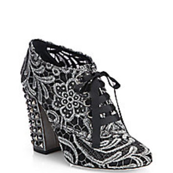 Dolce & Gabbana - Studded Lace & Leather Ankle Boots - Saks Fifth Avenue Mobile