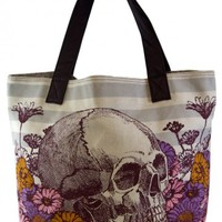 Skull with Flowers Canvas Tote by Loungefly