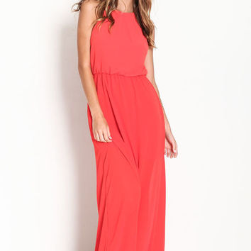 RED KEYHOLE CHIFFON MAXI DRESS