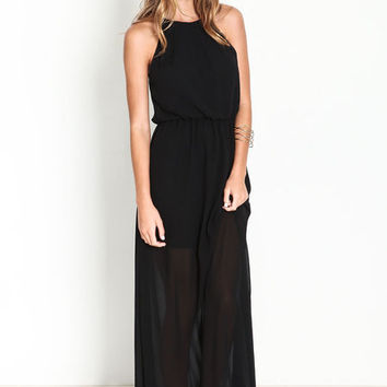 BLACK KEYHOLE CHIFFON MAXI DRESS
