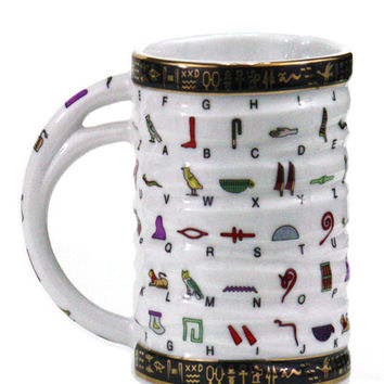 Swiveled Hand-painted Porcelain Mug, 'Hieroglyphics'