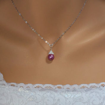 Fuchsia Necklace Bridesmaid Gift Pearl Necklace White Glass Flower Wedding Bridal Party Jewelry - YOU CHOOSE QUANTITY -