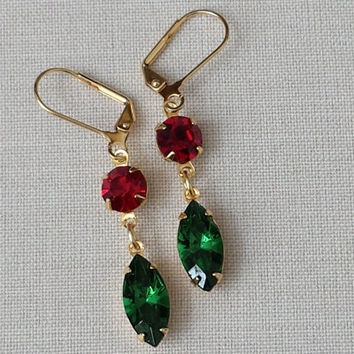 Tourmaline and Siam Ruby Earrings made Vintage Swarovski Crystals, Rhinestone Earrings, Vintage Inspired, Christmas Earrings, Retro Glam