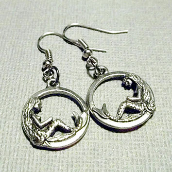 Mermaid Earrings Mermaid Jewelry Nautical Silver Earrings Dangle Earrings Ocean Jewelry  Friendship Gift Beach Jewelry Bridesmaid Jewelry
