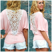 Prescott Coral Crochet Back Top