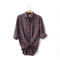 20% OFF SALE / Vintage Red Plaid Flannel / Grunge Shirt / Boyfriend button up shirt