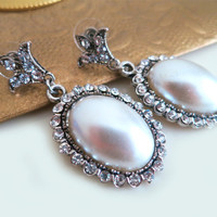 Pearl Dangle Earrings - Rhinestone Pearl Earrings -  Wedding Jewelry - Large Oval - Vintage Style Bridal Earrings