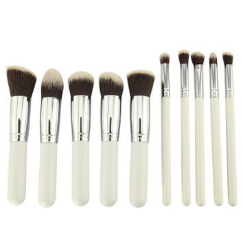 BESTOPE Professional Kabuki Comestic Eyeshadow Eyeline Foundation Makeup Brushes Set (10, 10PCS White+Silver)
