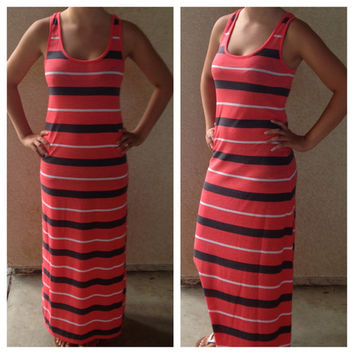 In Style Racer Back Coral/Grey/White Maxi Dress