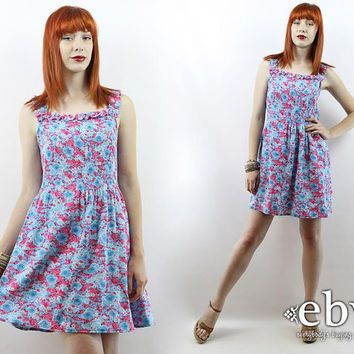 Vintage 70s Pink & Blue Floral Sundress S M L Floral Dress Mini Dress Summer Dress Blue Dress Pink Dress