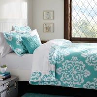 Ikat Medallion Duvet Cover, Full/Queen, Pool