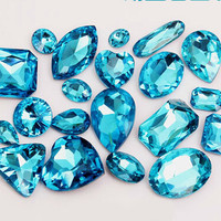15pcs Mized Size Sea Blue Gemstones Twinkle Gemstone Wholesale Gemstone Beads