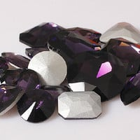 15pcsPurple Crystal Diamond Gem Stone with Silver plated Culet Bottom Crystal for Jewelry diy