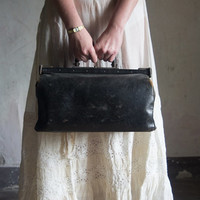 Antique French Doctor's Bag // 1930 Vintage Leather Handbag // Black Luggage Satchel // Gothic Romantic