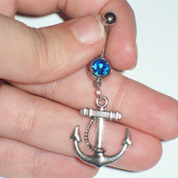 Anchor belly ring by aliciasaccessories9 on Etsy