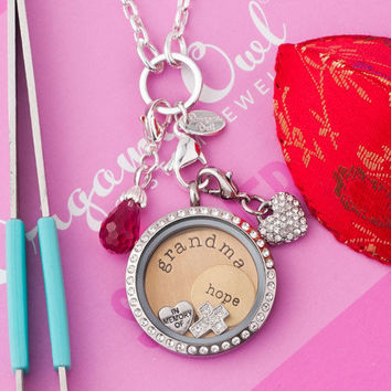Origami Owl Jewelry Crystal Living Locket With Plate Charms Dangles Necklace A01