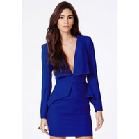 Missguided - Norika Peplum Tailored Mini Dress In Cobalt Blue