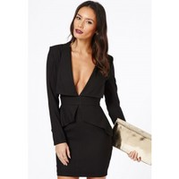 Missguided - Norika Peplum Tailored Mini Dress In Black