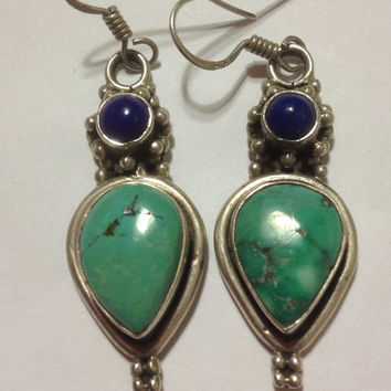 Turquoise Lapis Sterling Earrings 925 Silver Blue Lazuli Handmade Vintage Southwestern Jewelry Birthday Holiday Anniversary Gift USA