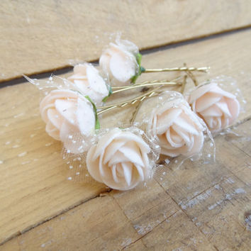 Powder Pink  Rose Wedding Hair Pins, Ivory Bridal Hair Pins, Hair Accessories, Bridesmaid Hair, Woodland - Set of 6