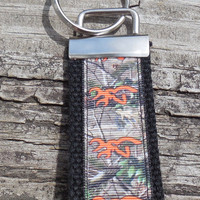 Orange Browning Camouflage Mini Fob, Key Holder, Key Chain, Key Ring, Accessory