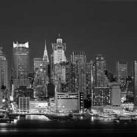 West Side Skyline at Night in Black and White, New York, USA Photographic Print by Panoramic Images at Art.com
