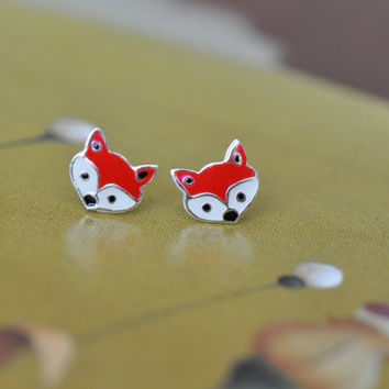 Fox Sterling Silver 925 Stud Earrings, Sterling Silver Fox Earrings, Children's Earrings, Kid's Earrings, Small Tiny Studs