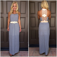 Marks The Spot Striped Maxi Dress - NAVY & IVORY