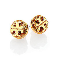 Tory Burch - Livia Logo Stud Earrings - Saks Fifth Avenue Mobile