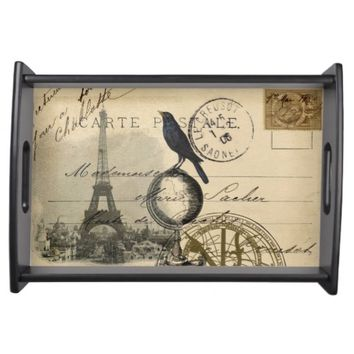 Paris Crow Globe French Postcard Serving Tray