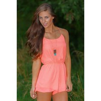 Better Things To Do Romper-Neon Coral
