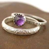 Stacking Ring Set Amethyst and Sterling Silver by SimplyAdorning