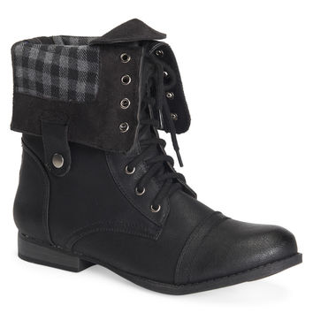 Plaid Foldover Boot