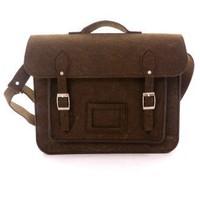 Felt Old School Satchel in Chocolate - Retro, Indie and Unique Fashion