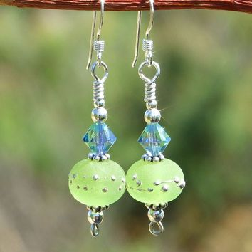 Handmade Green Lampwork Earrings Provence Swarovski Crystals Jewelry