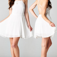 WHITE BACKLESS CRISS CROSS CHIFFON DRESS | PUBLIK | Women's Clothing & Accessories