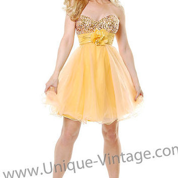 Sassy Prom Dress! Yellow & Pink With Gold Strapless Cocktail Dress
