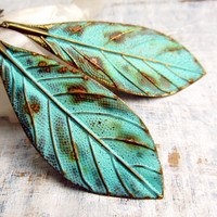 Patina bohemian Leaf earrings Bohemian jewelry by Gypsymoondesigns