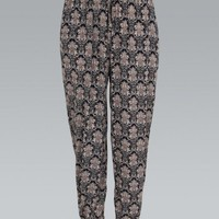 Black and Beige Damask Print Harem Trousers