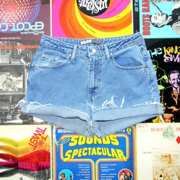 High Waisted Denim Shorts - 90s Light Stone Washed Jean Shorts by St John's Bay, Frayed/Naturally Distressed Shorts Size 10 Medium M