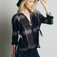 Free People Womens Exploded Plaid Buttondown -