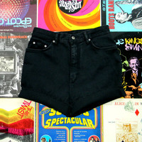 High Waisted Denim Shorts - 90s Black Stretch Jean Shorts - High Waist/Frayed/Rolled Up/Cuffed Shorts by Gloria Vanderbilt Size 12 Large L