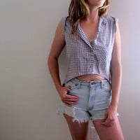 High Low Checkered Blouse Hi Lo Womens Shirt Cropped Crop Top Midriff Summer Tank Sleeveless Boho Grunge