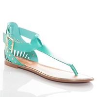 Heel of a Time Woven Heel T-Strap Thong Sandals - Green