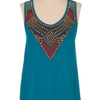 envelope back embellished chiffon tank