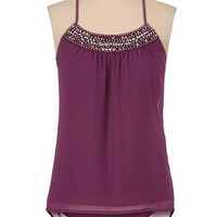 embellished neck high-low racerback tank