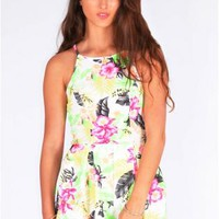 Tropical Neon Floral Print Playsuit
