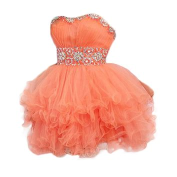 VILAVI Ball Gown Sweetheart Short Tulle Crystal Tiered Graduation Dresses